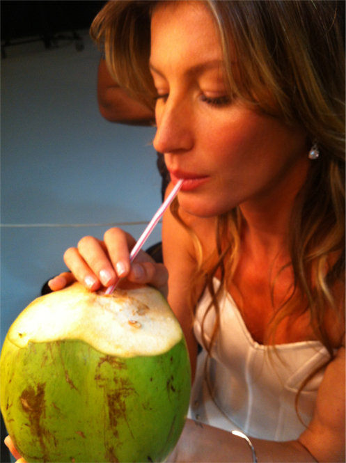 Gisele Bundchen sipped on coconut water during a trip to Brazil. Source: Twitter user giseleofficial