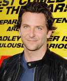 Bradley Cooper wore a black leather jacket.