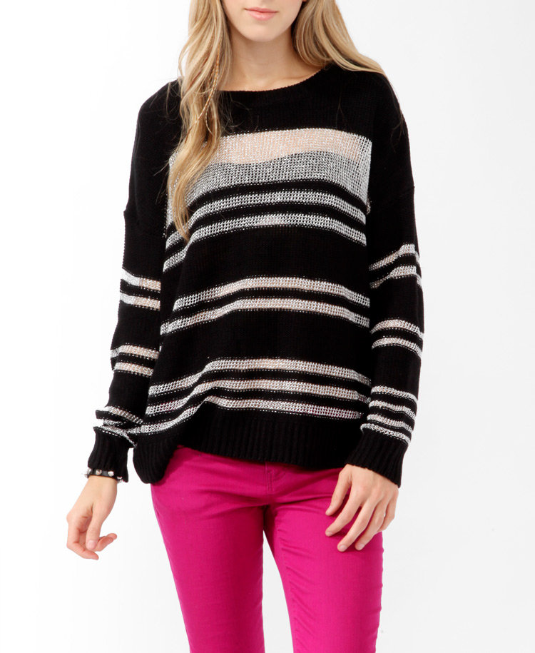We love this bold, striped sweater, and the subtle metallic threads are a great touch. Forever 21 Relaxed Metallic Stripes Sweater ($25)