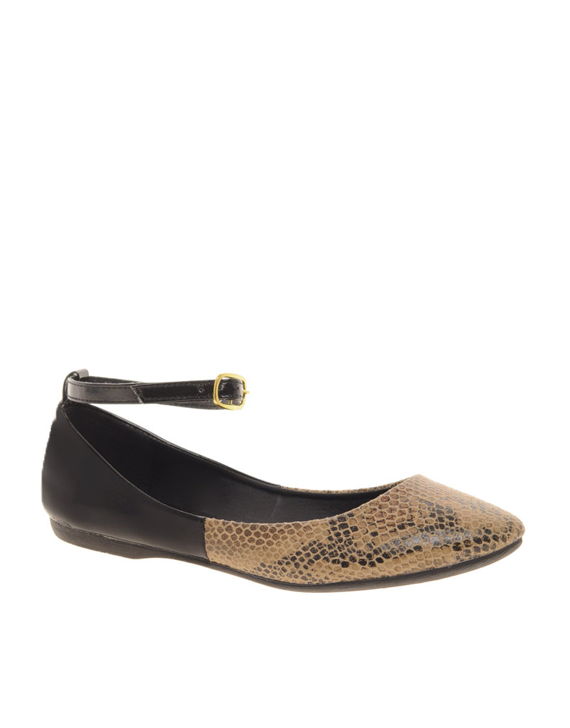 Snakeskin flats? Sign us up. Faith Alvin Ankle Strap Ballet Flats ($48)
