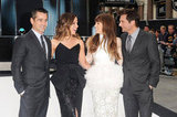 Colin Farrell, Kate Beckinale, Jessica Biel and Len Wiseman chatted at the Total Recall UK premiere.