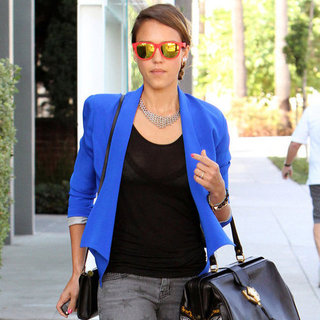 Jessica Alba Wearing Blue Blazer in LA Pictures