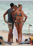Doutzen Kroes spent time with her husband, Sunnery James, and friends at the beach in Miami in August 2012.