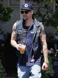 Joel Madden appeared to be in high spirits.