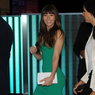 Jessica Biel's Green Dress at Total Recall Party