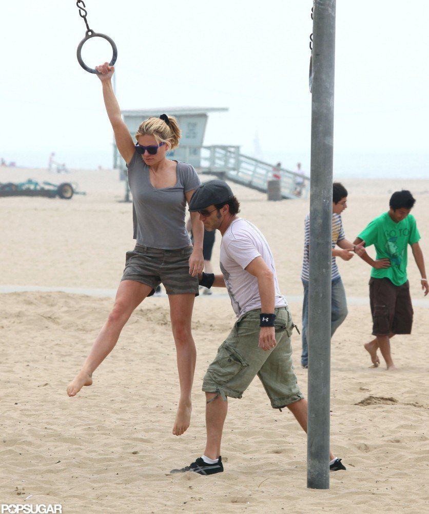 Stephen Moyer gave Anna Paquin a helping hand in Santa Monica, CA, in April 2010.