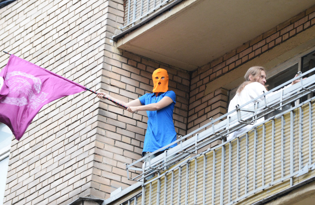 A protestor waved a flag in support of Pussy Riot in Moscow.