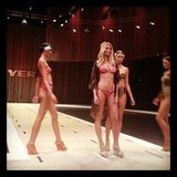 Jennifer Hawkins in rehearsal for the Myer Spring/Summer 2012 collection launch, wearing her own Cozi bikini. Source: Instagram user jenhawkins_