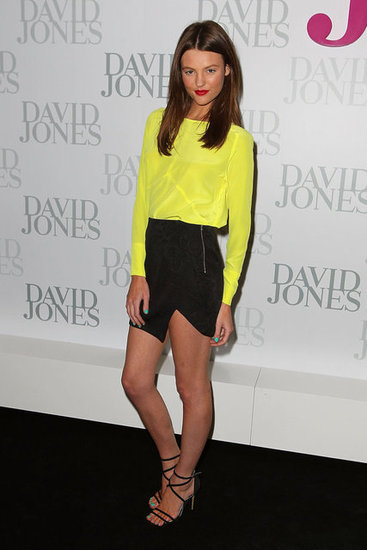 Montana Cox basically blew us away when we met her at David Jones' SS 2013 launch — she's beautiful, absolutely lovely and, wow, girl can work an outfit. We adore her in this Nicholas ensemble — neon yellow and black never looked so sexy.