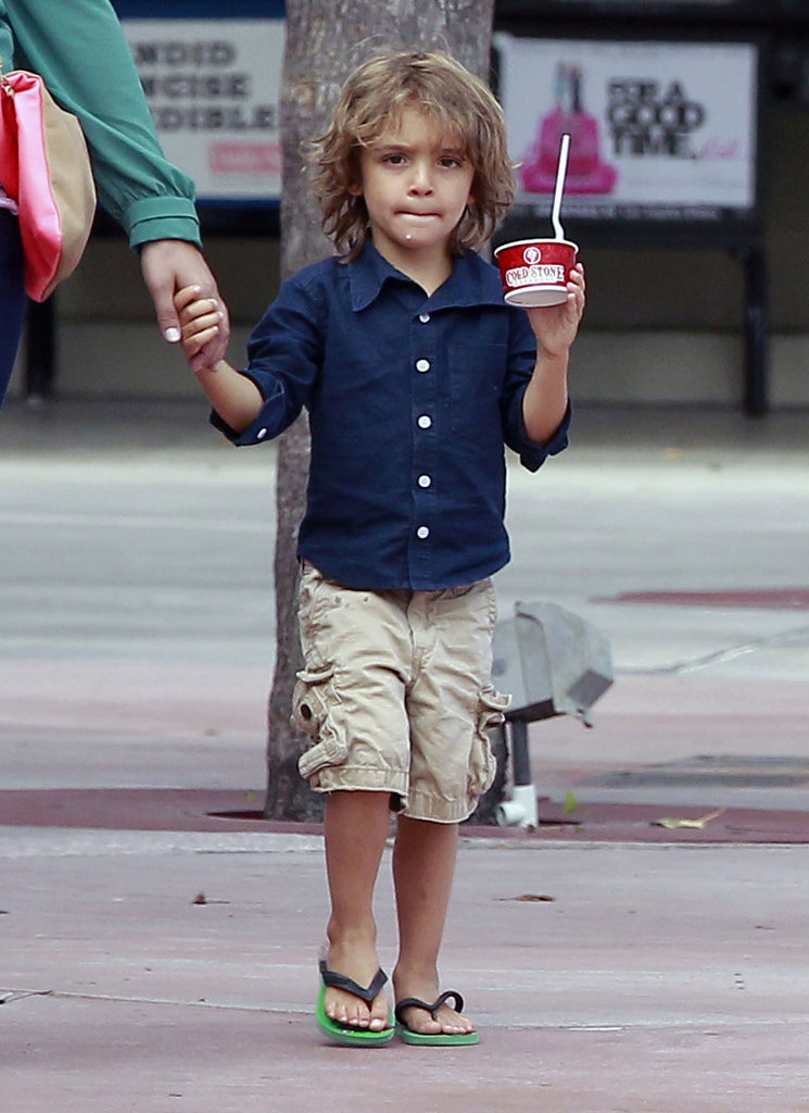 Levi McConaughey got a frozen yogurt treat.