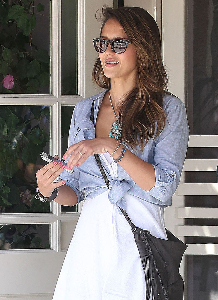 Jessica Alba wore a white dress in LA.