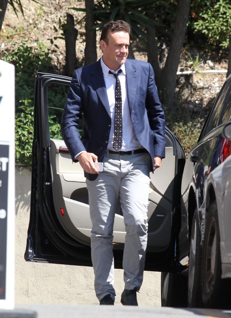 Jason Segel wore a blue blazer and tie in LA.
