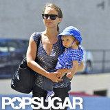 Natalie Portman carried Aleph Millepied on her hip.