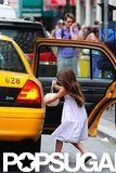 Suri Cruise climbed into a taxi in NYC.