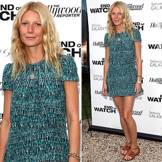 Gwyneth Paltrow Wearing a Teal Dress in the Hamptons