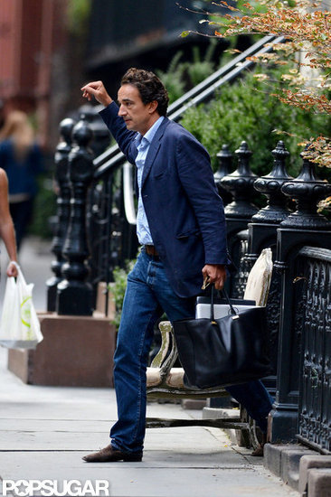 Olivier Sarkozy followed Mary-Kate Olsen out of a townhouse in NYC.
