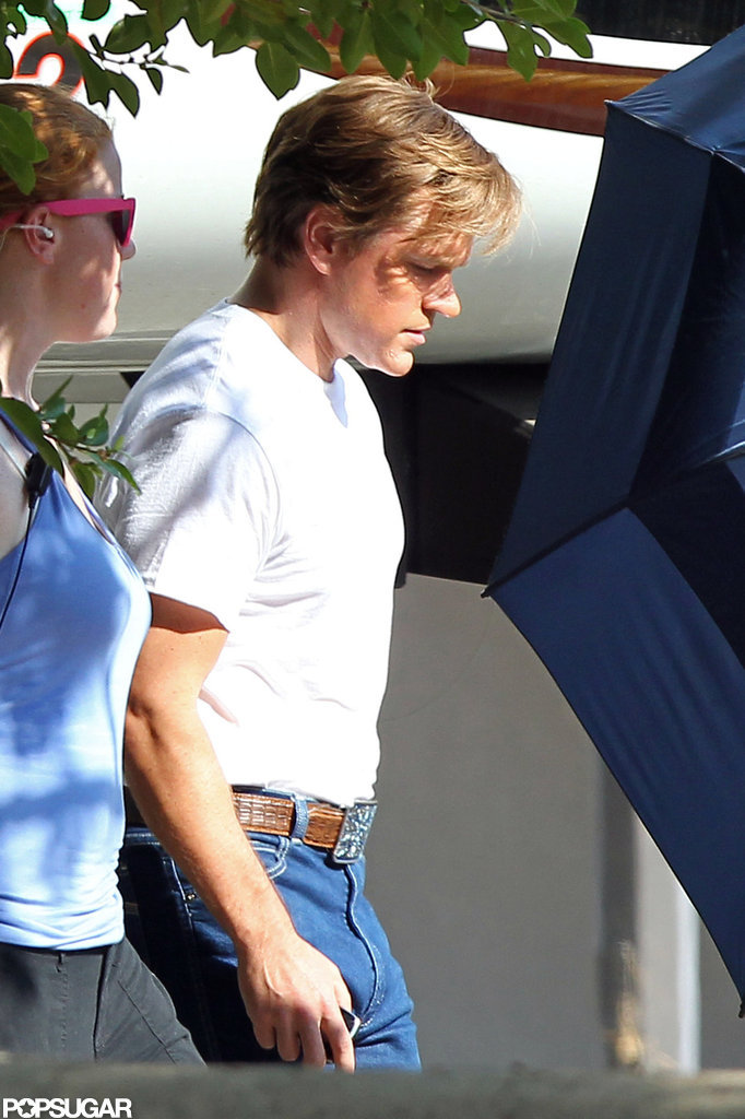 Matt Damon got ready to film on the set of Behind the Candelabra.