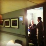 Jimmy Fallon chatted with his crew before going live on the air.  Source: Instagram user latenightjimmy