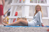 Blake Lively lounged in the sand in June 2008 while on location in Queens for Gossip Girl.