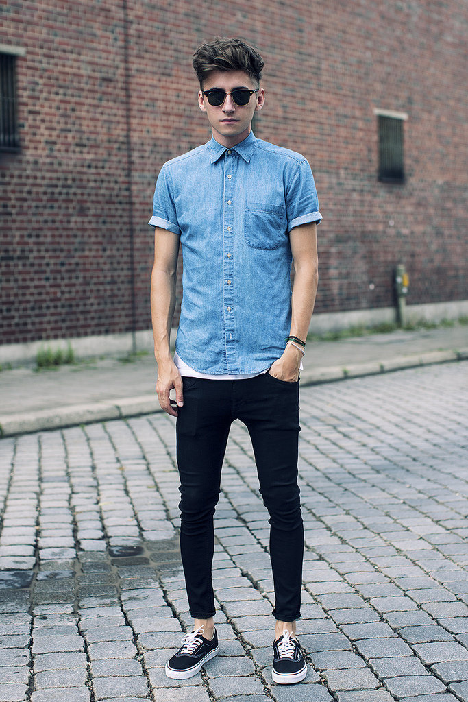 This hipster moment is about to inspire one of our favorite Fall uniforms — there may be few things cooler (or easier) than black skinnies and a chambray button-down, finished with killer shades and awesome kicks. It's what all the cool kids are wearing. 8391667  Source: Lookbook.nu