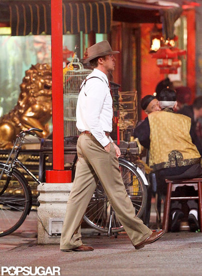 Ryan Gosling was in his Gangster Squad costume.