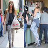 Jessica Alba Wearing Printed Jeans | August 21, 2012
