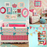 A Bold Aqua and Pink Baby Girl's Room