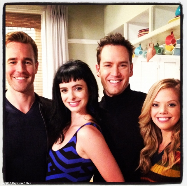 Guest star Mark-Paul Gosselaar posed with the cast of Don't Trust the B---- in Apt. 23.  Source: Krysten Ritter on WhoSay