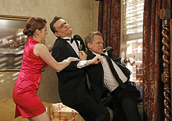 Lily (Alyson Hannigan) and Marshall (Jason Segel) fight Barney (Neil Patrick Harris) on his wedding day.