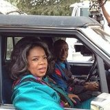 Oprah and Forest Whitaker chilled in a car on the set of The Butler. Source: Instagram user oprahwinfrey