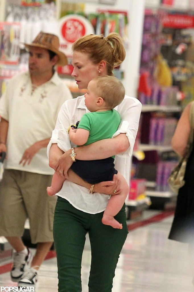 January Jones Takes Her Little Man to Target as Her Mystery Guy Gets ID'd