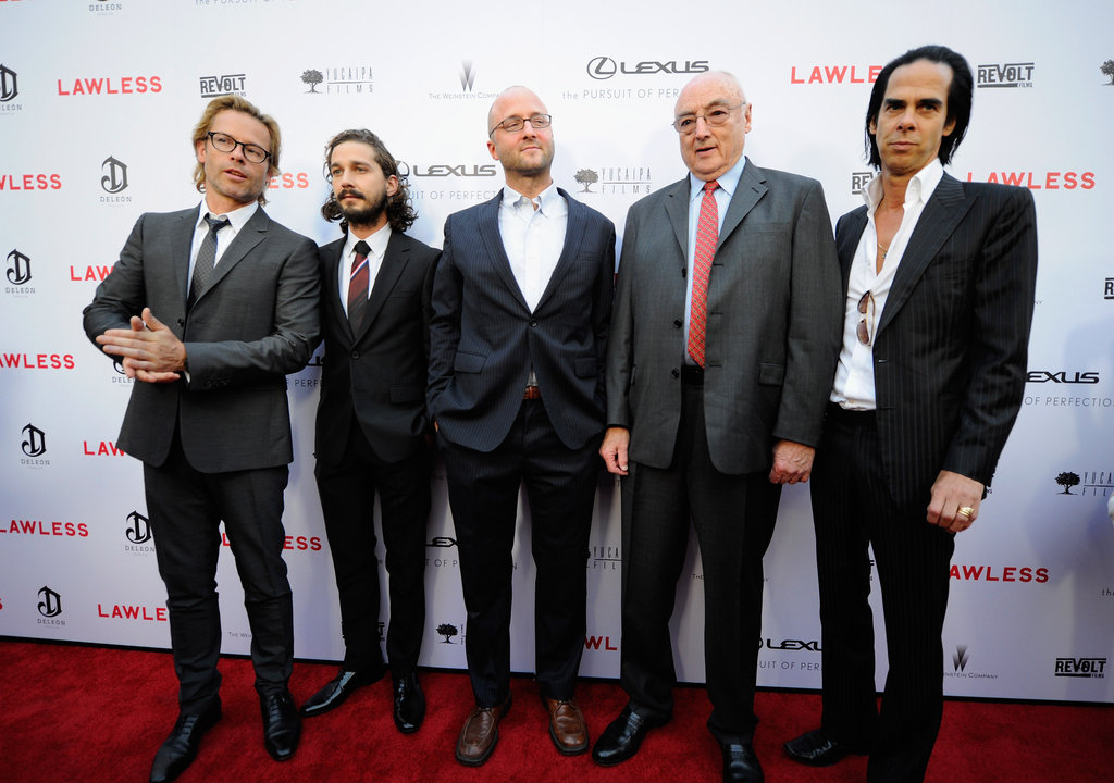 Screenwriter Nick Cave, writer Matt Bondurant, and actors Shia LaBeouf and Guy Pearce attended the premiere of their new film, Lawless, in LA.
