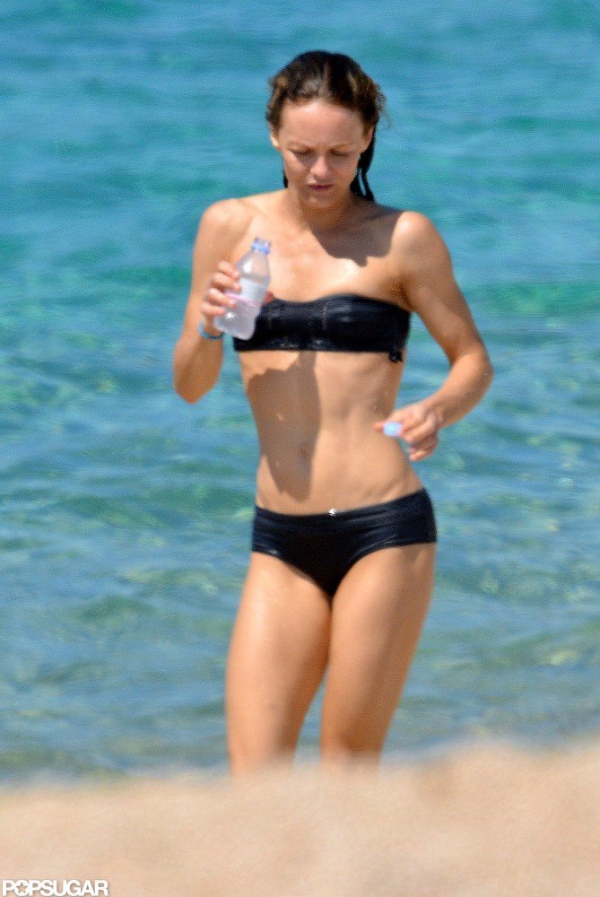 Vanessa Paradis wore a black bikini while in the South of France in August 2012.