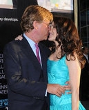 Aaron Sorkin and Kristin Davis shared a smooch at the June LA premiere of his HBO drama, Newsroom.