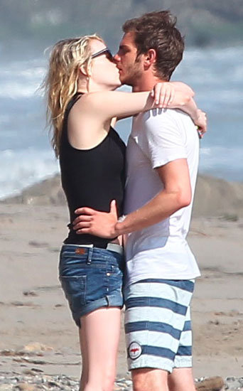 Emma Stone and Andrew Garfield shared a passionate kiss on the beach in LA.