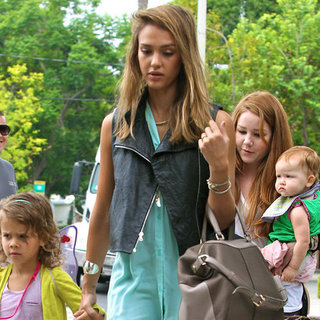 Jessica Alba Wearing Mint Top