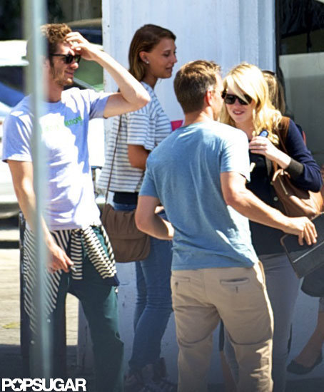Emma Stone and Andrew Garfield met up with friends at Disneyland.