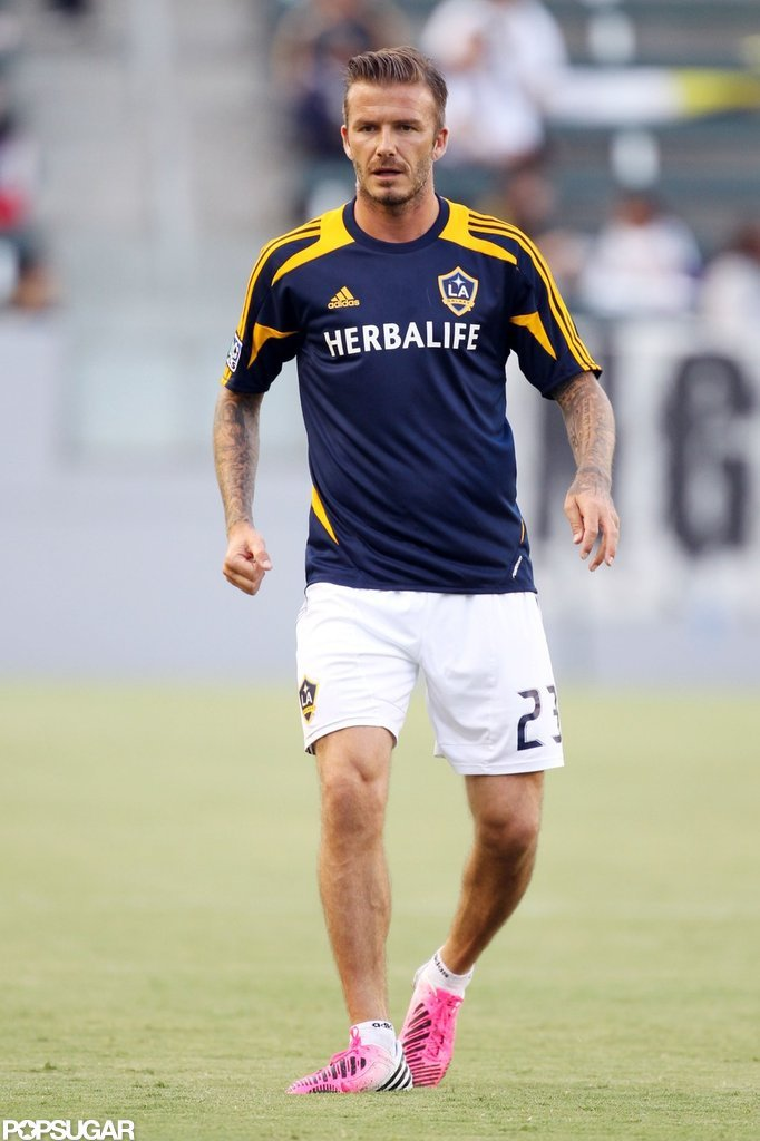 David Beckham wore pink cleats on the field.