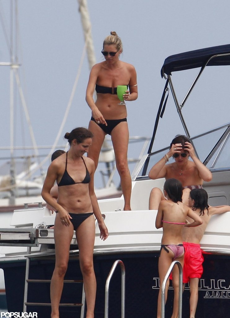 Kate Moss wore a black bikini.