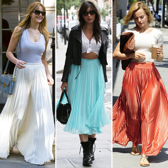 Celebs make a pretty convincing case for the pleated maxi.
