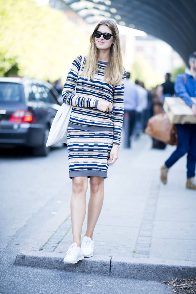 The knit dress is a total classic — we're warming to this cool-girl iteration in a zigzag print and sneakers to finish it off. Source: Adam Katz Sinding