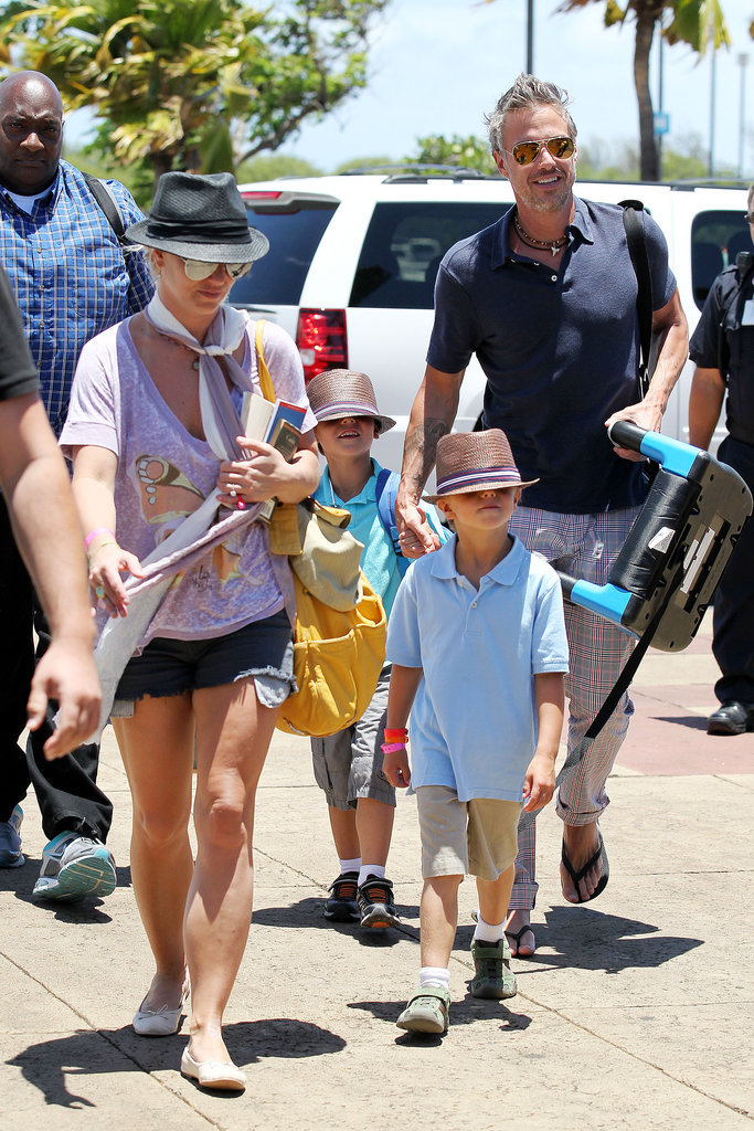 Britney Spears's boys, Sean Preston Federline and Jayden James Federline, wore matching straw fedoras during a July trip to Maui.