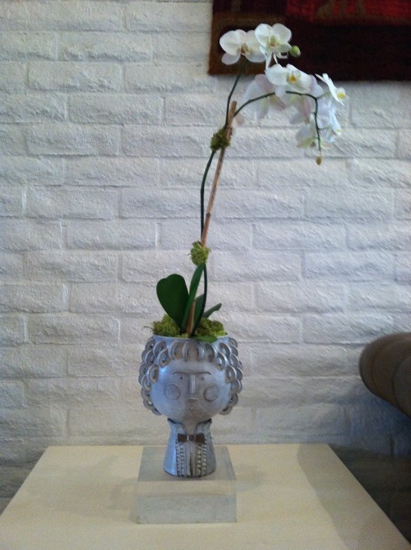Instead of filling this Jonathan Adler vase with a distracting bouquet, try using it for a single, elegant orchid.