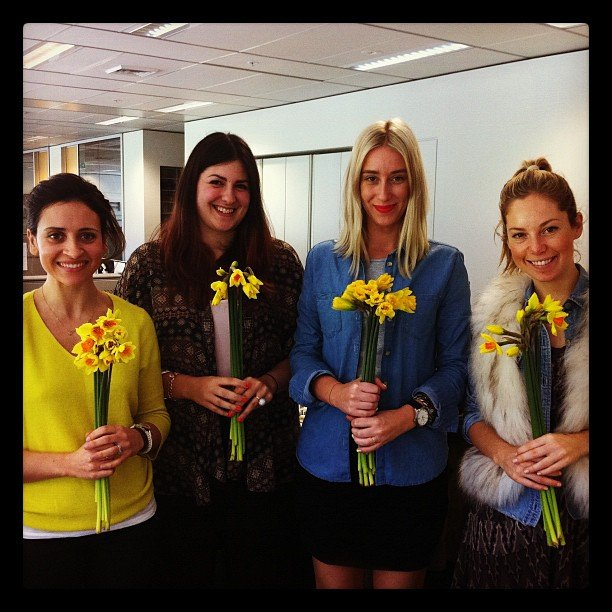 Talk about feel-good flowers . . . Marisa, Gen, Alison and Ali bought some pretty bunches of yellow to support Daffodil Day.