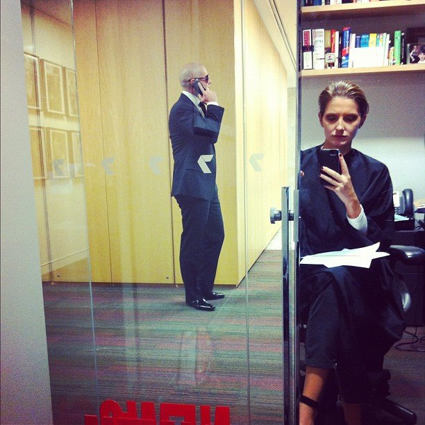 As Kate Waterhouse got her hair and makeup done for Sunrise she spotted Pitbull talking on his phone nearby. Source: Instagram user katewaterhouse7