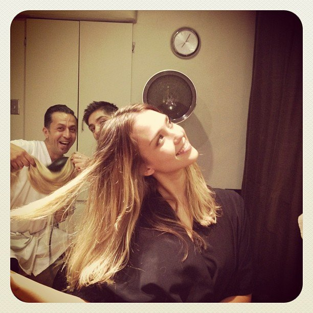 Jessica Alba showed off her newly dyed locks.  Source: Instagram user jessicaalba
