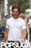 Matthew McConaughey sported a white t-shirt.