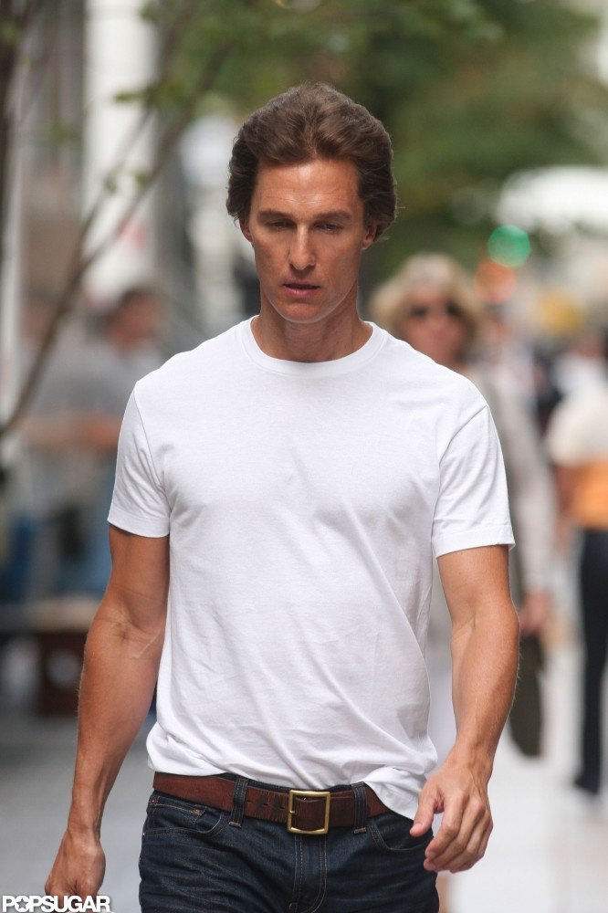 Matthew McConaughey sported a white t-shirt.