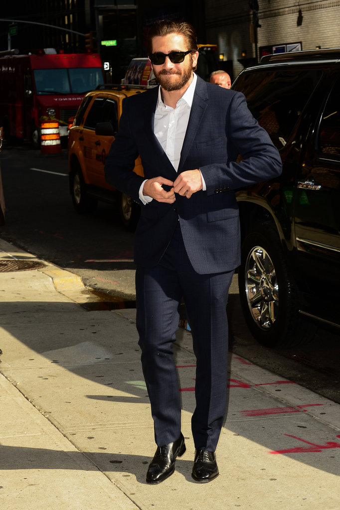 Jake Gyllenhaal headed to an appearance on the Late Show With David Letterman in NYC.