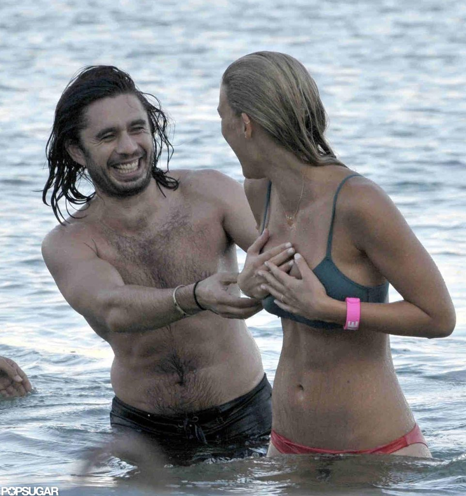 Bar Refaeli splashed around in the water.